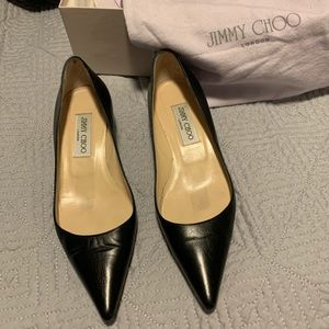 Gently used Jimmy Choo black kitten heels size 6
